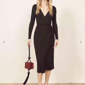 Sexy Reformation Celine Dress Black Wrap Dress